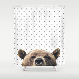 Bear - Gray Dots Shower Curtain