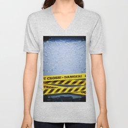 Grunge Background With Danger Tapes Unisex V-Neck