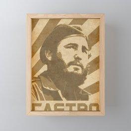 Fidel Castro Retro Propaganda Framed Mini Art Print