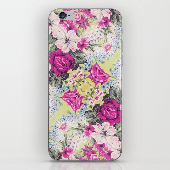 Trendy Vintage Purple Teal Floral Fashion Pattern iPhone & iPod Skin