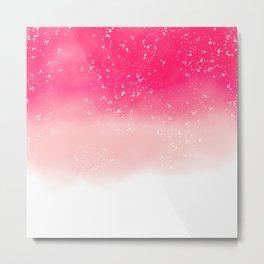 Modern hand painted neon pink pastel ombre watercolor splatters Metal Print