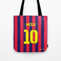 messi Tote Bags featuring Three Tens: Messi 10 by Crewe Illustrations