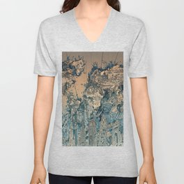 world map city skyline Unisex V-Neck