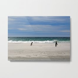Penguins on the Beach Metal Print