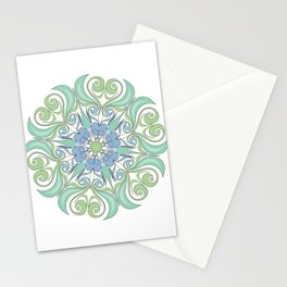 green and blue color mandala Stationery Cards