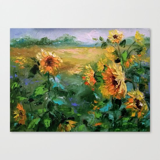 Sunflowers in the wind Canvas Print