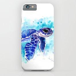 Blue Hawaiian Sea Turtle, Turquoise Blue Cute Animal Sea world Art iPhone Case