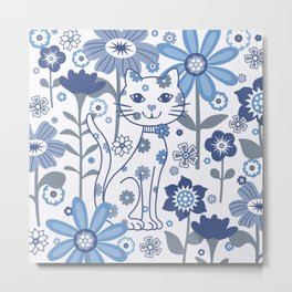 Blue and White Garden Cat Metal Print