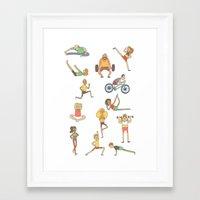 gym Framed Art Prints featuring Gym Buddies by Sid's Shop