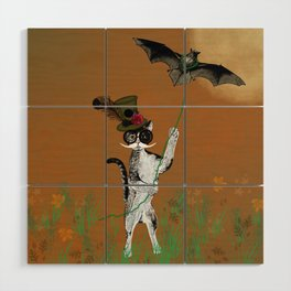 Cat Walking His Bat Wood Wall Art