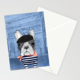 Frenchie with Arc de Triomphe Stationery Cards
