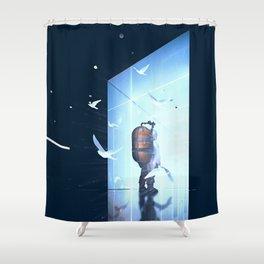 Entering Shower Curtain