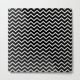 Zigzagged (White & Black Pattern) Metal Print