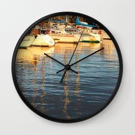 Sunset at the marina Wall Clock