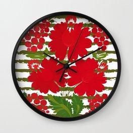 Traditional Ukrainian Petrykivka painting ornament. Wall Clock