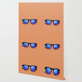 Blue Lens Sunglasses on an Orange Background Wallpaper