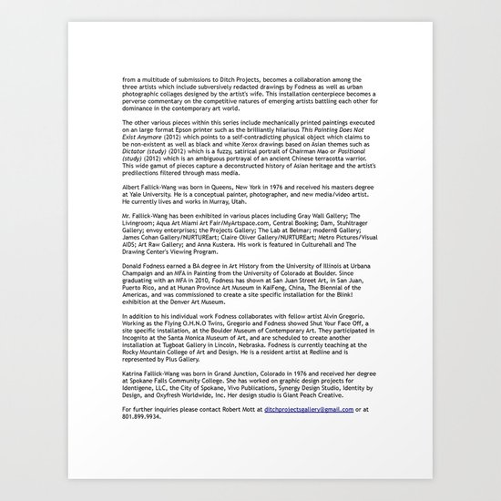 Ditch Projects Press Release (Page 2) Art Print