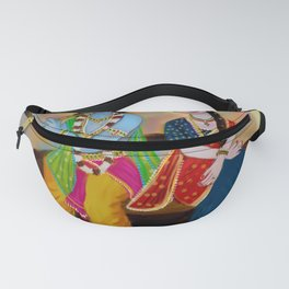 lord krishna and radha seating river Fanny Pack