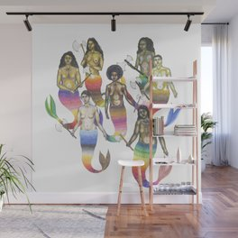 mermaids holding axes Wall Mural