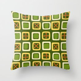 Mid Century Modern Squares Lines Avocado Green Throw Pillow