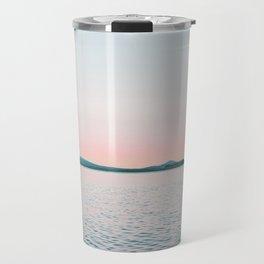 Pink, Blue, Landscape, Water, Nature, Modern art, Scandinavian, Art, Minimal, Wall art Travel Mug