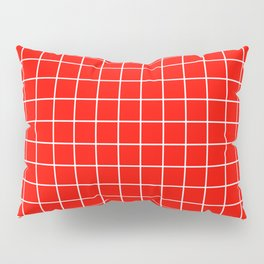 Candy apple red - red color - White Lines Grid Pattern Pillow Sham