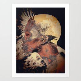PORTRAIT (Woman and bird) Art Print