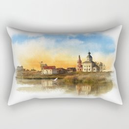 The Church of Elijah the prophet on mount Ivan in Suzdal. Evening landscape. The Golden Ring Of Russ Rectangular Pillow
