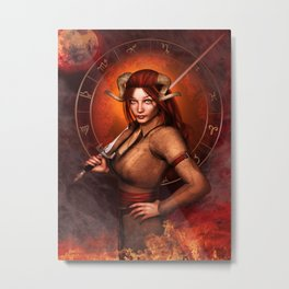 Aries zodiac fantasy circle Metal Print