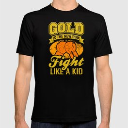 FIGHT LIKE A KID World Cancer Day Gift Gold Ribbon T-shirt
