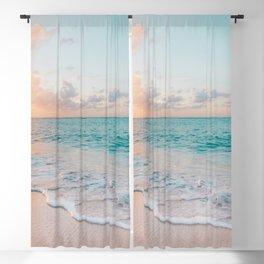 Beautiful tropical turquoise sandy beach photo Blackout Curtain