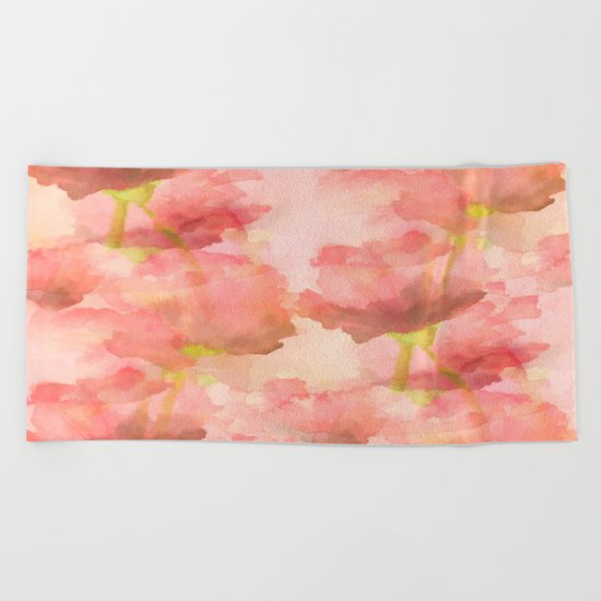 Delicate Pink Watercolor Floral Abtract Beach Towel