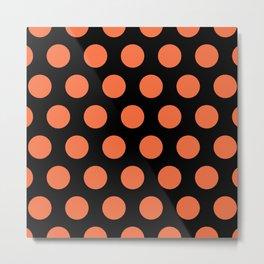 Colorful Mid Century Modern Polka Dots 526 Orange and Black Metal Print