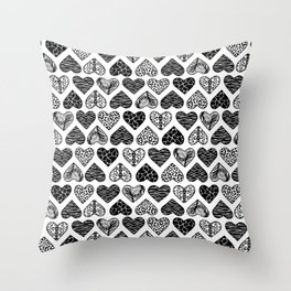 Wild Hearts in Black and White Throw Pillow
