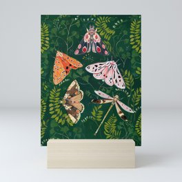 Moths and dragonfly Mini Art Print