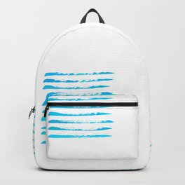 Turquoise blue stripes, hand painted rough texture Backpack