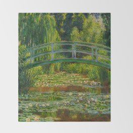 Claude Monet Impressionist Landscape Oil Painting-The Japanese Footbridge and the Water Lily Pool, Throw Blanket