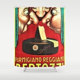 Vintage Parmigiano Reggiano Bertozzi Cheese Advertisement Wall Art Shower Curtain