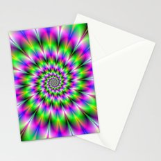 Spiral Rosette in Pink Green and Blue Stationery Cards