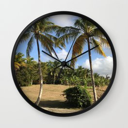 Barbados Palm Trees Along a Roadway Wall Clock
