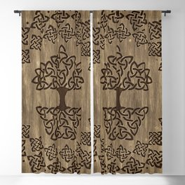 Triquetra - Tree of life -Wooden Texture Blackout Curtain