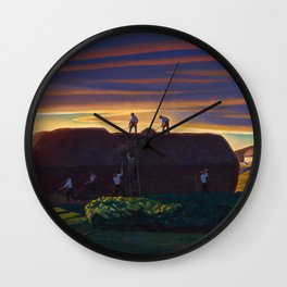 Dan Wards Hay Stack, Heartland Sunset landscape painting by Rockwell Kent Wall Clock