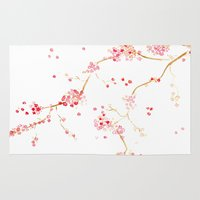craftberrybush Area & Throw Rugs featuring Cherry blossom blue background - watercolor by craftberrybush