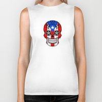 puerto rico Biker Tanks featuring Sugar Skull with Roses and Flag of Puerto Rico by Jeff Bartels