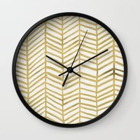 gold Wall Clocks featuring Gold Herringbone by Cat Coquillette