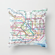Tokyo Subway Map Throw Pillow