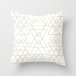 Modern White & Gold Geometric Pattern Throw Pillow