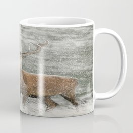 Red Deer Stag in Snow Coffee Mug