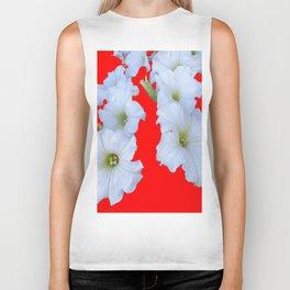 White Garden Petunia Flowers On  red Art Biker Tank
