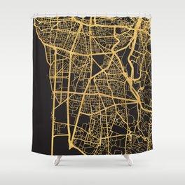 BEIRUT LEBANON GOLD ON BLACK CITY MAP Shower Curtain